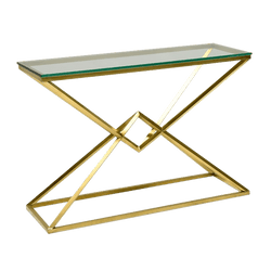 Brushed gold geometric framed console table | Luxury consoles & buffets Perth WA