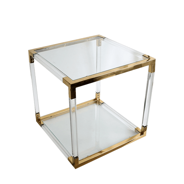 Acrylic cube side table with gold edges/joints | Side tables + Coffee tables Perth WA