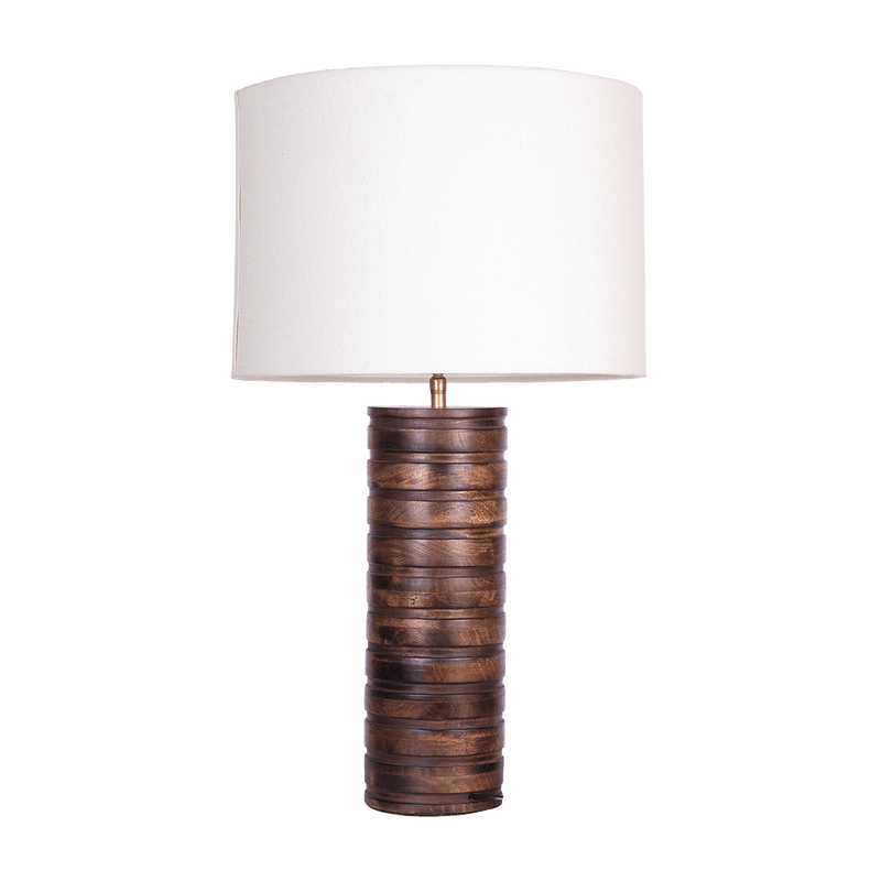 Round wooden table lamp with white shade | Luxury lighting and lamps - Perth WA