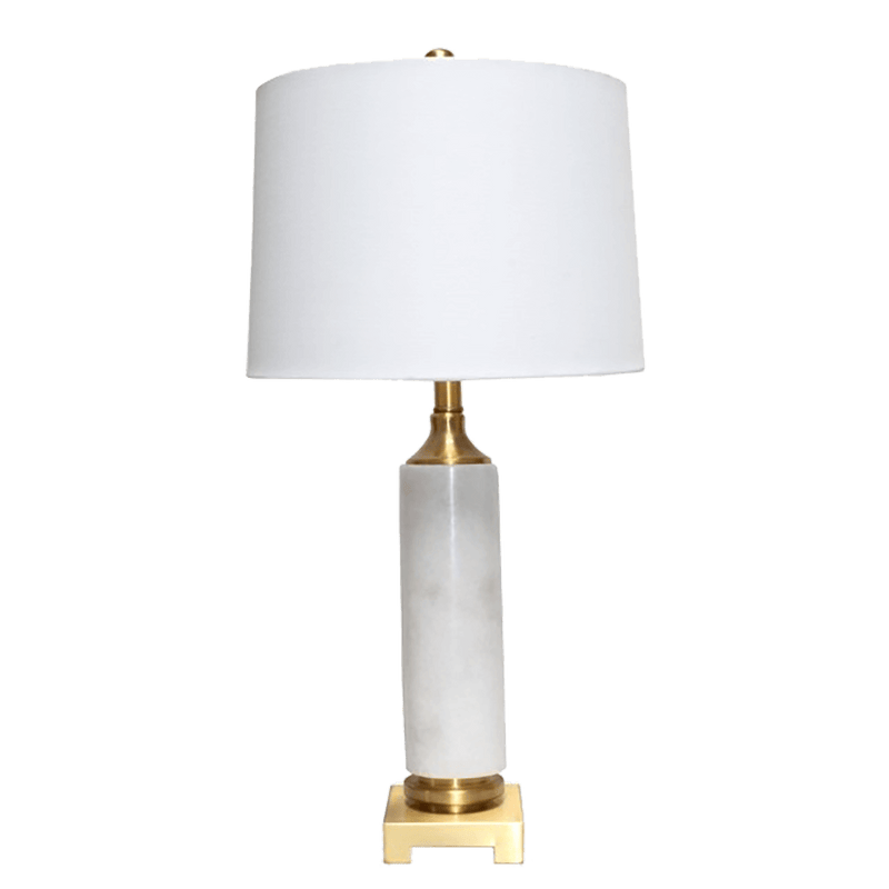 White marble and gold table lamp with a white linen lamp shade | Furniture & Lighting | Perth, WA