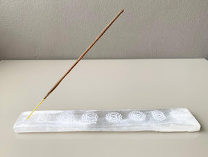 Selenite Chakra Engraved Incense Holder