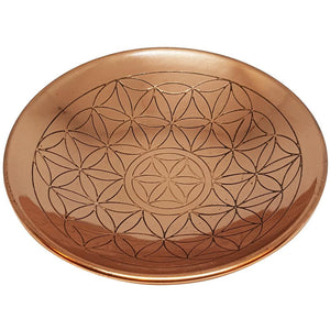 Flower Of Life Copper Round Plate