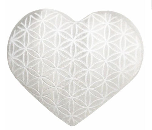 Selenite Heart with Flower of Life Engraving 7cm