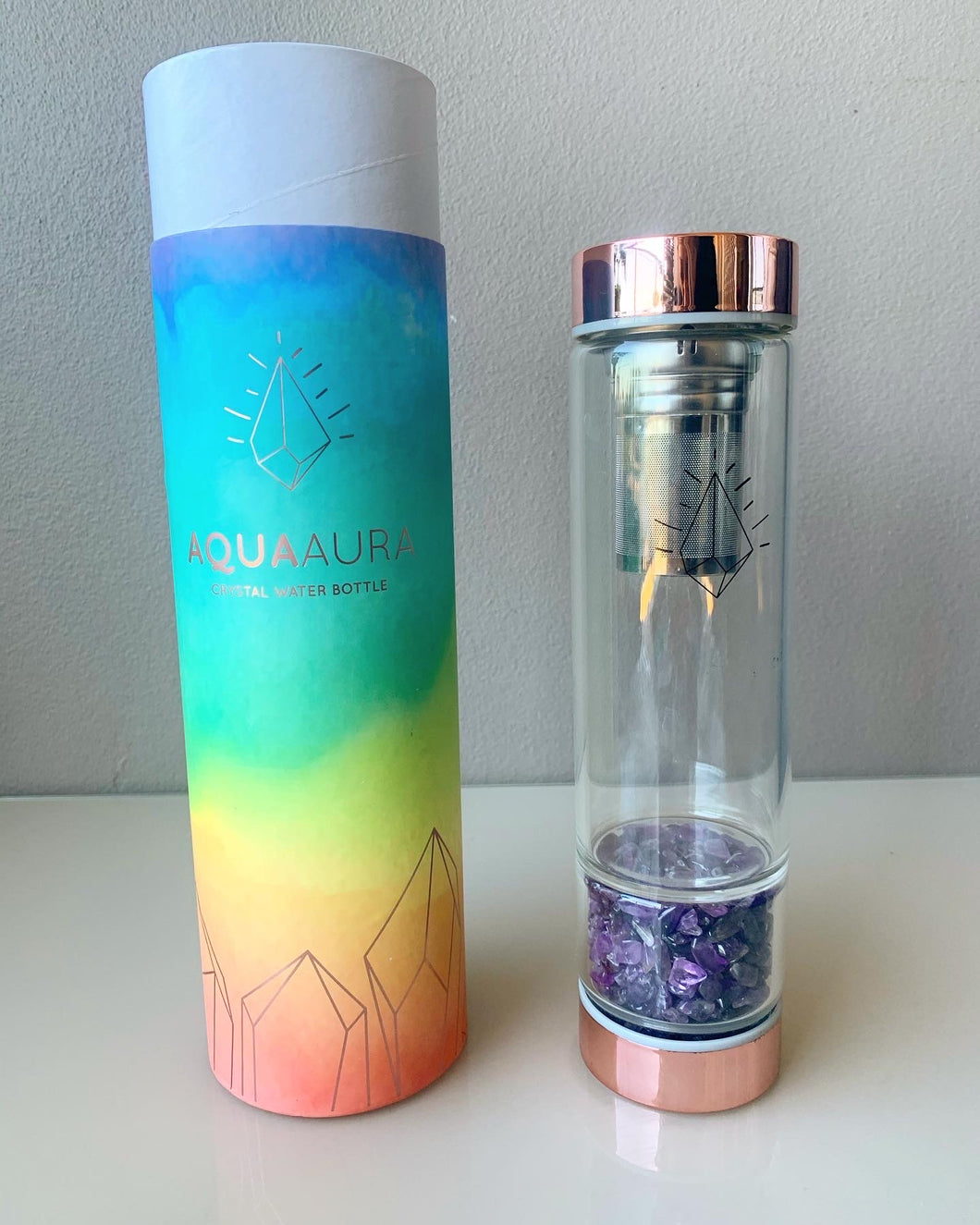 Aqua Aura Water Bottle  - Rose Gold with FREE Tea Infuser