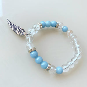 Clear Quartz & Angelite Angel Wing Bracelet 8mm