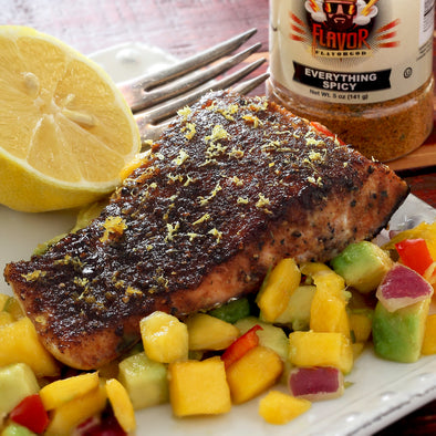 BLACKENED SALMON & MANGO-PINEAPPLE SALSA!