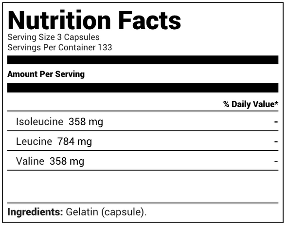 NutraKey BCAA Nutrition Facts