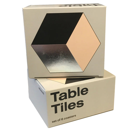Table Tiles Coaster Set Black Silver