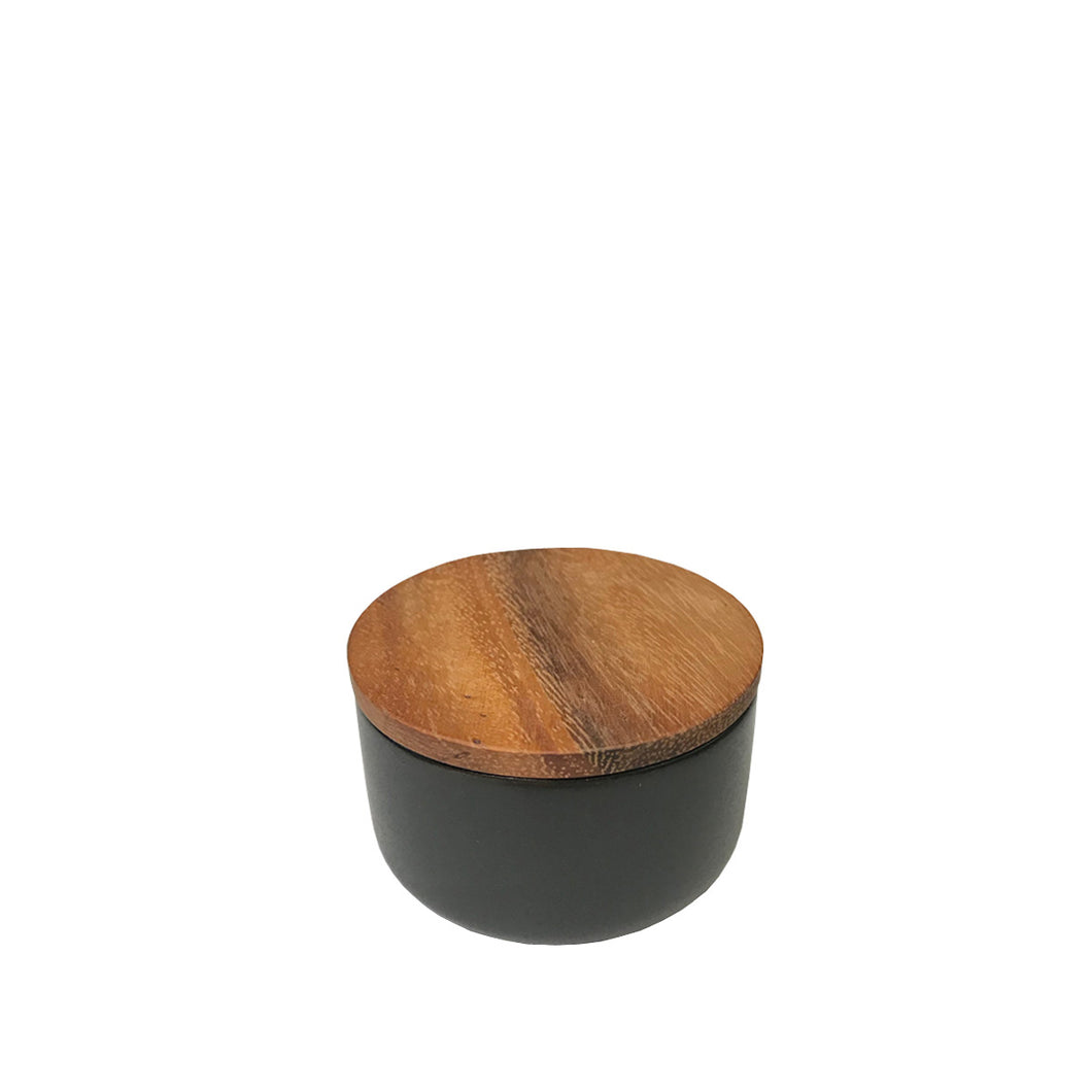 Stoneware Container with Acacia Wood Lid - Small