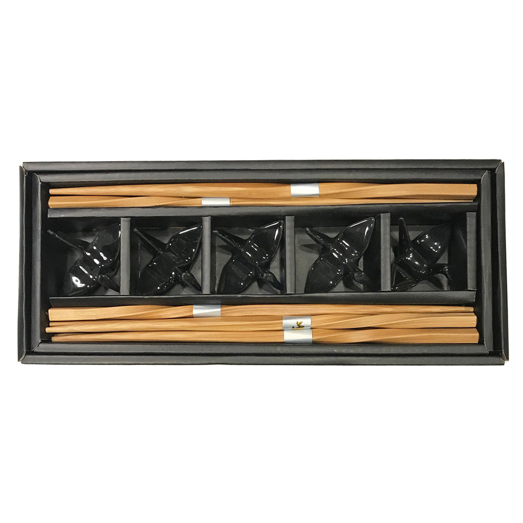 Chopstick Rest & Chopsticks Set - Crane