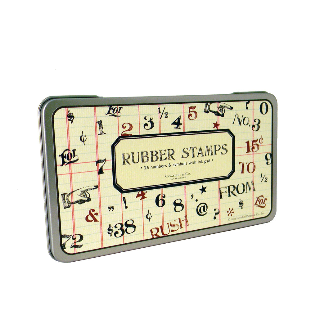 Numbers and Symbols Rubber Stamp Set