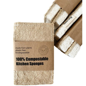 100% Compostable Kitchen Sponges, 2 pack by Essence of Life