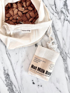100% organic cotton nut milk bag by Essence of Life
