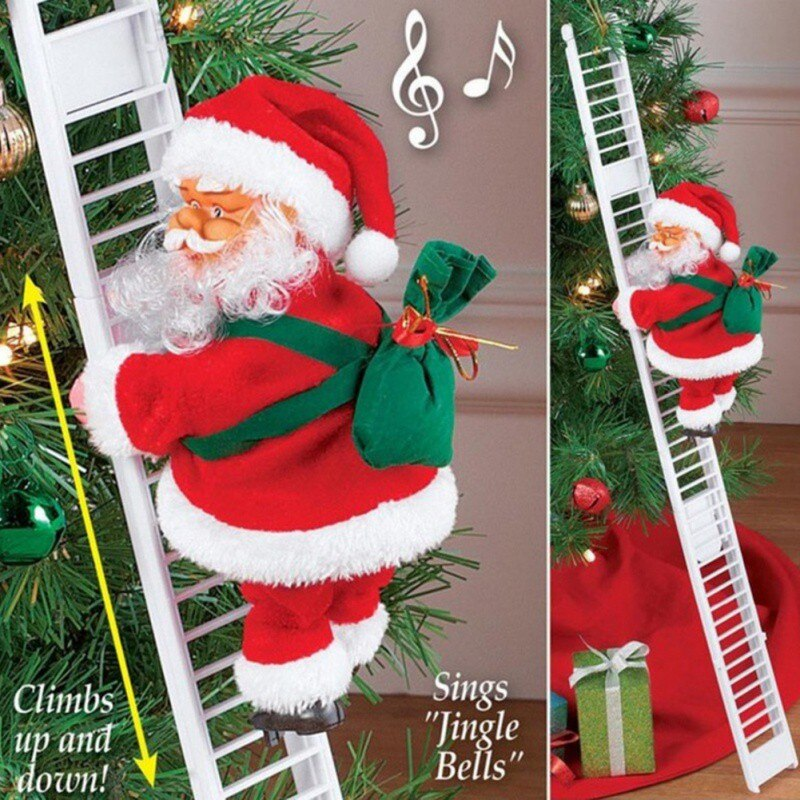 Santa Claus Climbing Ladder