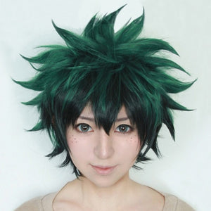 Izuku Midoriya Short Green Black Synthetic Hair