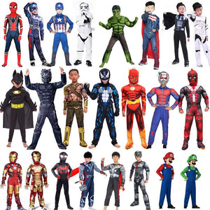Spiderman Deadpool Thor Superman Iron Man Cosplay Halloween Costume for Kids