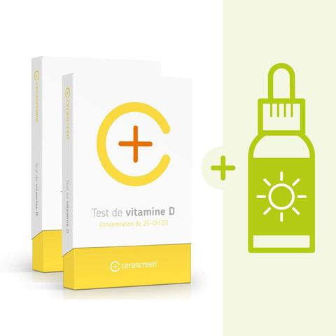 Kit de check-up Vitamine D : 2 x Test Vitamine D + complément D3