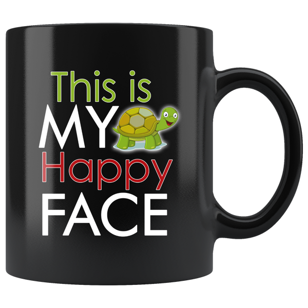 This Is My Happy Face Turtle Black Mug - TheGivenGet