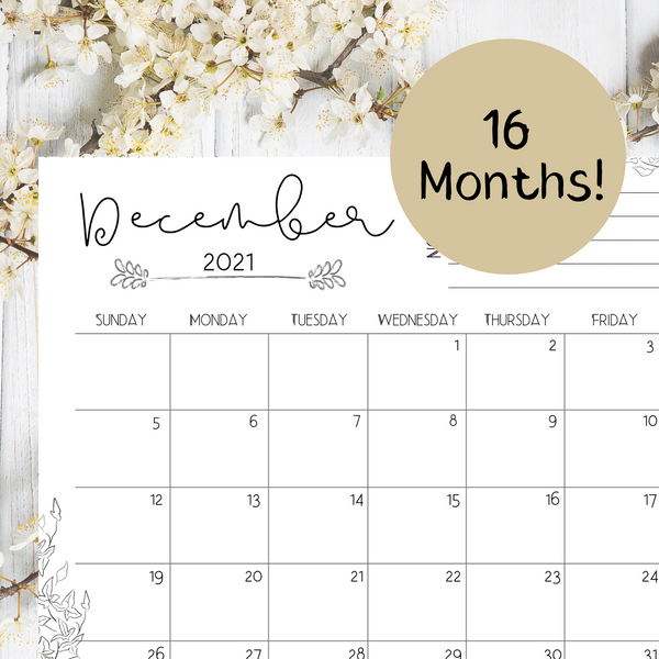Stems 16-Month Monthly Calendar