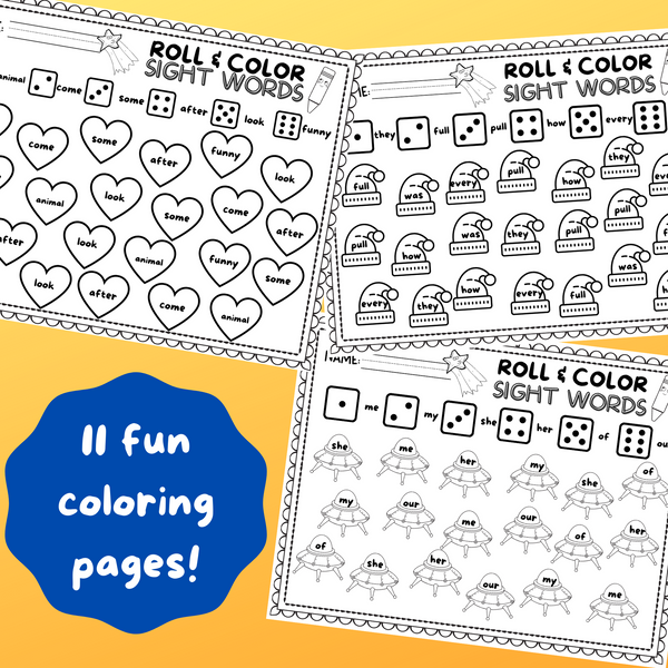 10 Roll & Color Sight Word Worksheets!