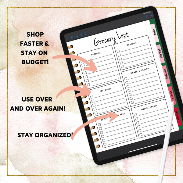 Floral Digital Menu Planner