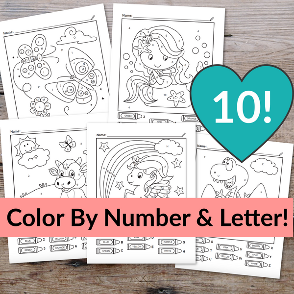 10 Color By Number & Letter Worksheets