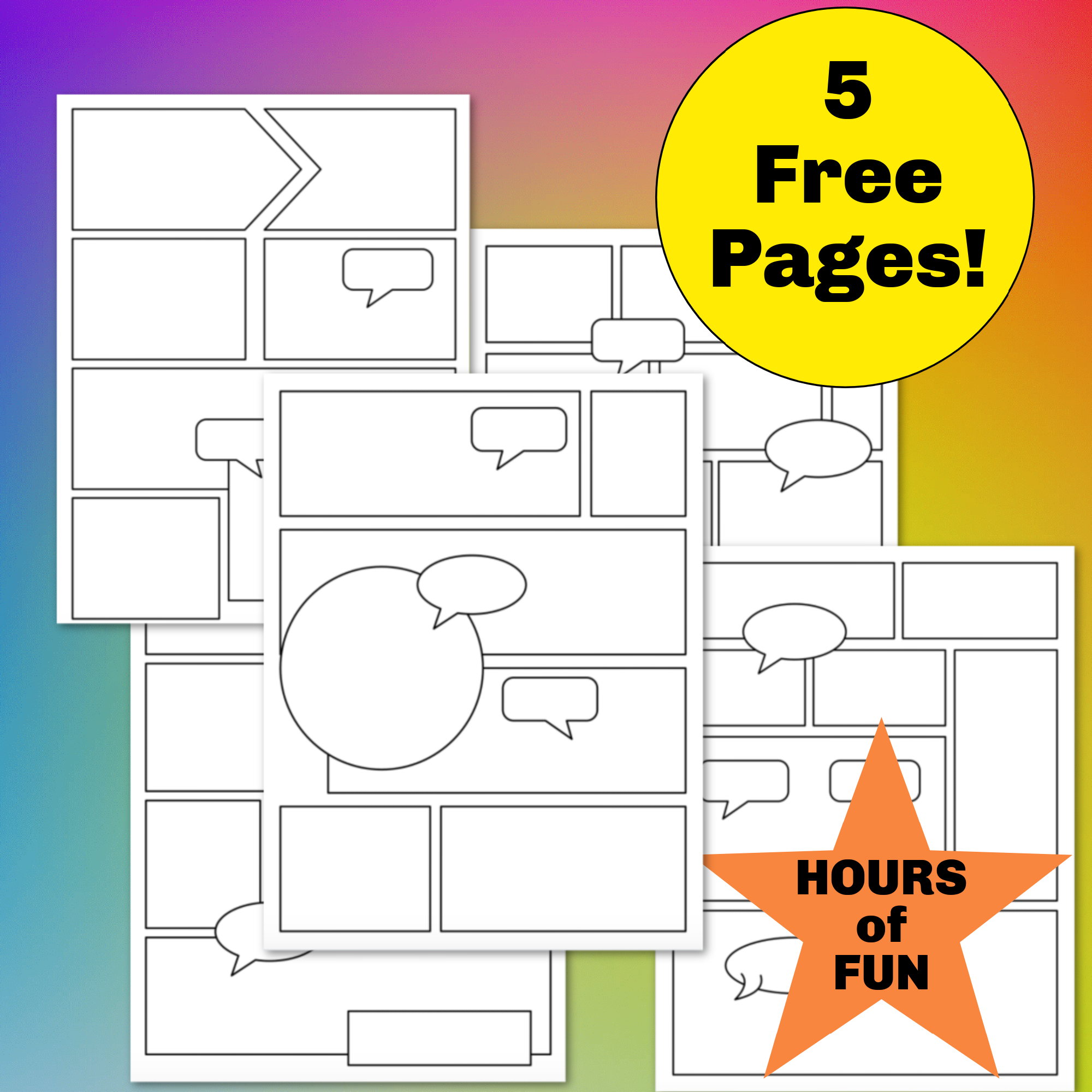 5 Free Blank Comic Pages