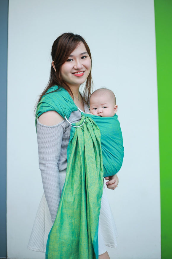 Seafoam:  Wrap Conversion Linen Ring Sling