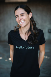 """Hello Future"" V-neck (womens, small font)"