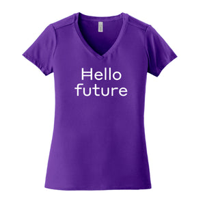"""Hello Future"" V-neck (womens, large font)"