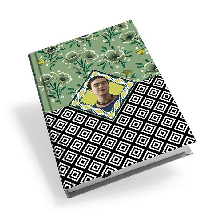 Frida Kahlo Green Floral Hardback Journal