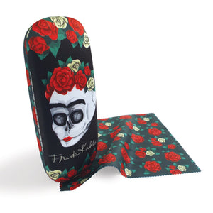 Frida Kahlo Floral Skull Glasses Case and Lens Cloth