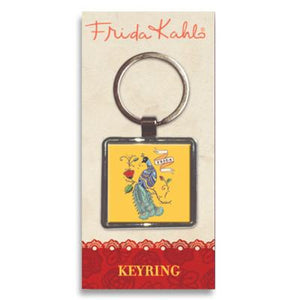 Frida Kahlo Peacock Metal Keyring