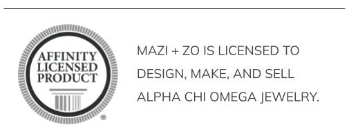 mazi + zo is licensed to design, make, and sell Alpha Chi Omega jewelry.