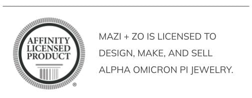 mazi + zo is licensed to design, make, and sell Alpha Omicron Pi jewelry.