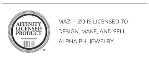 mazi + zo is licensed to design, make, and sell Alpha Phi jewelry.