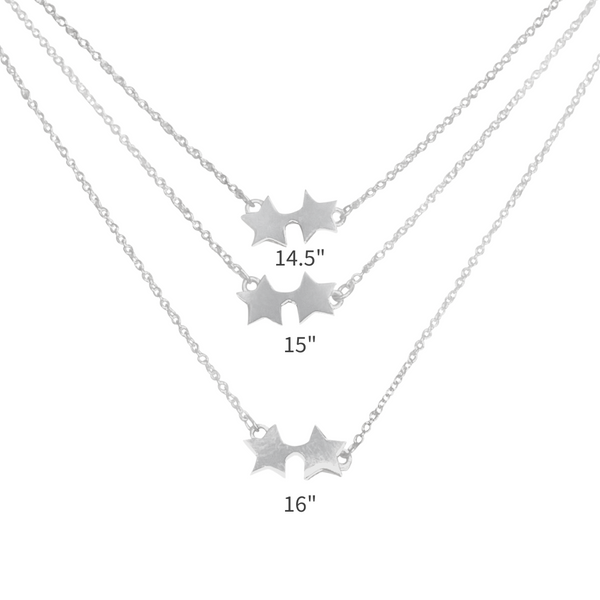 how the three different lengths look for our sterling silver double star necklace.