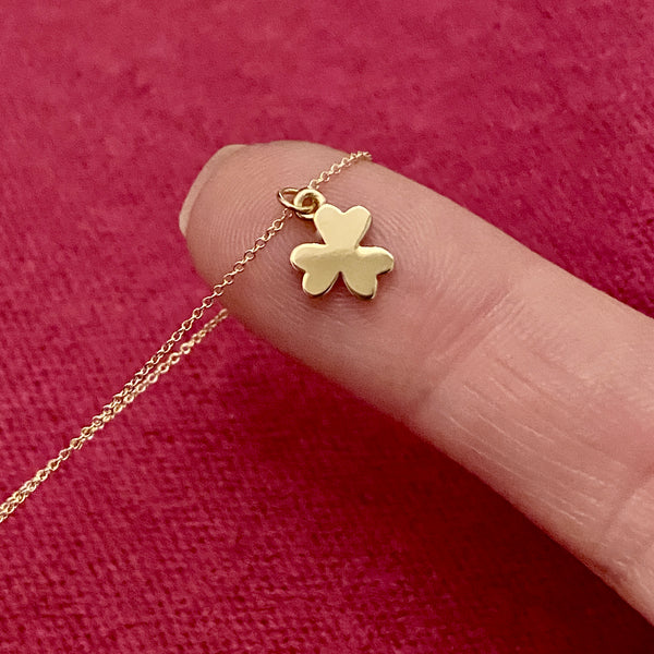 solid gold shamrock charm necklace