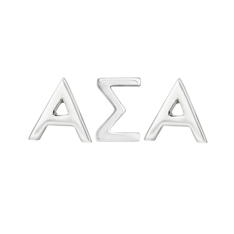 Alpha Sigma Alpha earring set in sterling silver