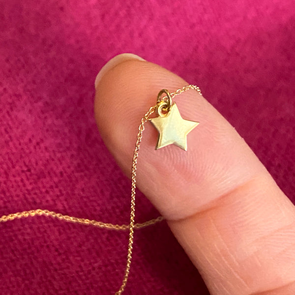 solid 14k gold star charm necklace