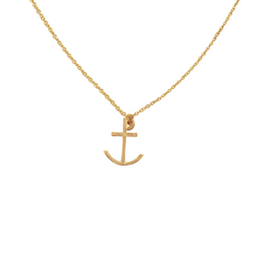 recycled 14k gold anchor charm necklace