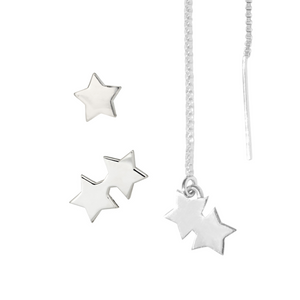 silver star earring set