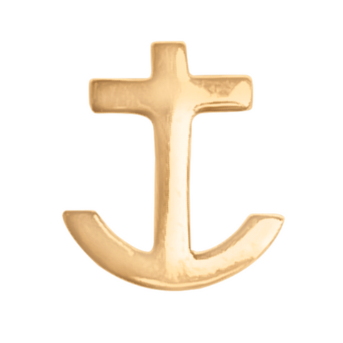 anchor stud earring in 14k gold