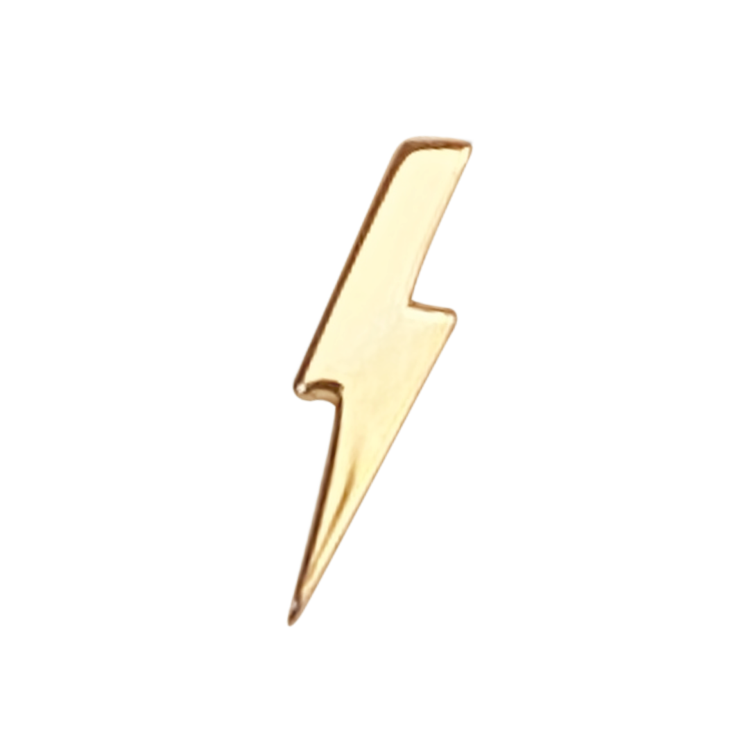 lightning bolt stud earring in 14k gold