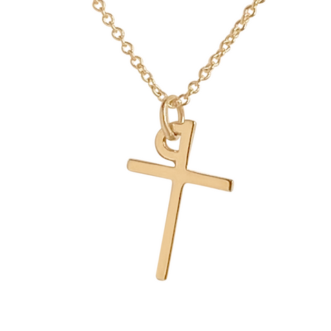 cross charm necklace in 14k gold