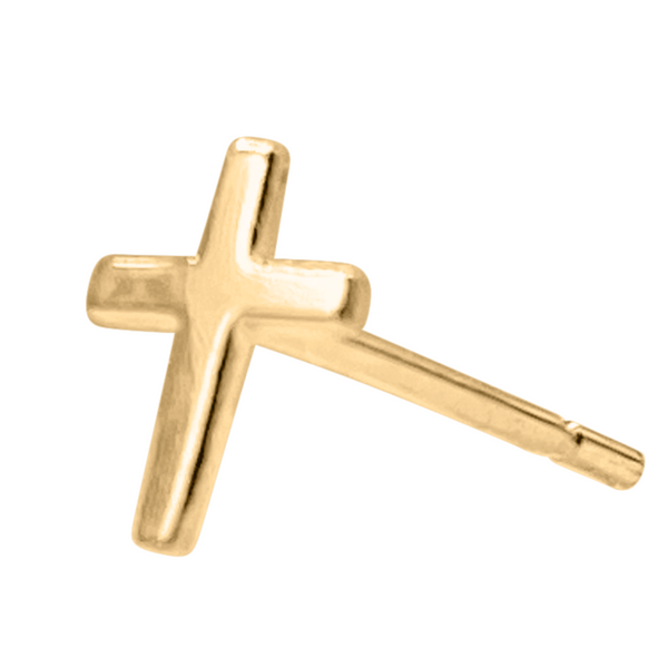 cross earring in 14k gold