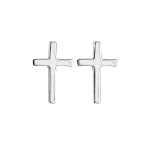 Front view of a pair of sterling silver cross stud earrings on a white background
