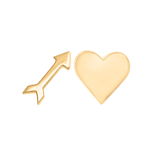 arrow and heart earring set in 14k gold