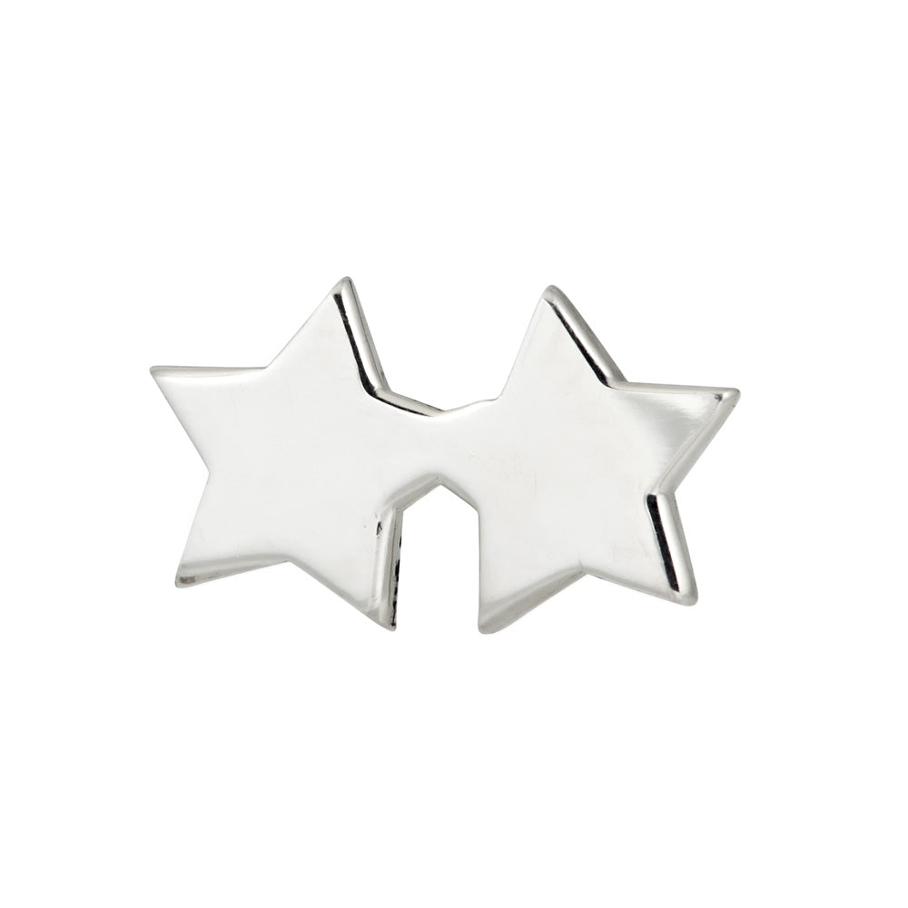 Double star stud earring in sterling silver - front view