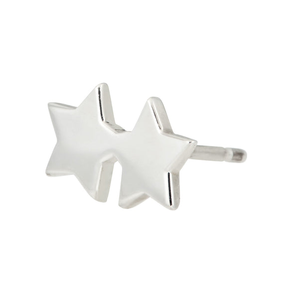Double star stud earring in sterling silver - side view